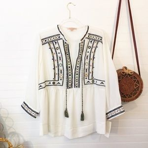 NEW Gibson Latimer Embroidered Boho Blouse